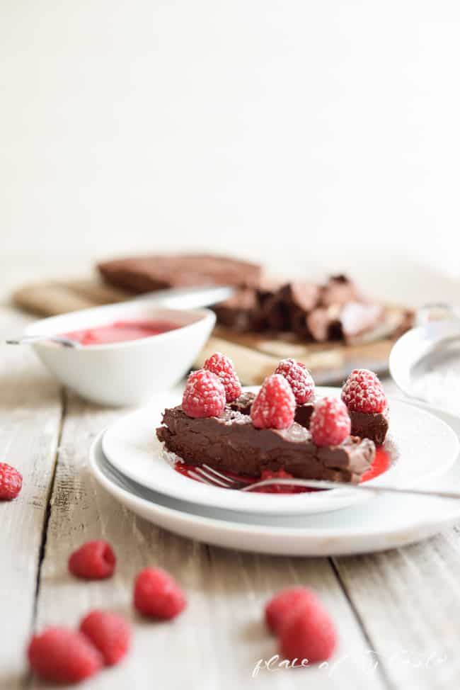 Chocolate Almond Pate with Raspberries-7