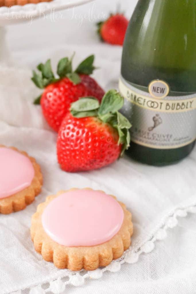 These Strawberry Champagne Shortbread Cookies are light and flakey and perfect for a quick Valentine's Day treat!