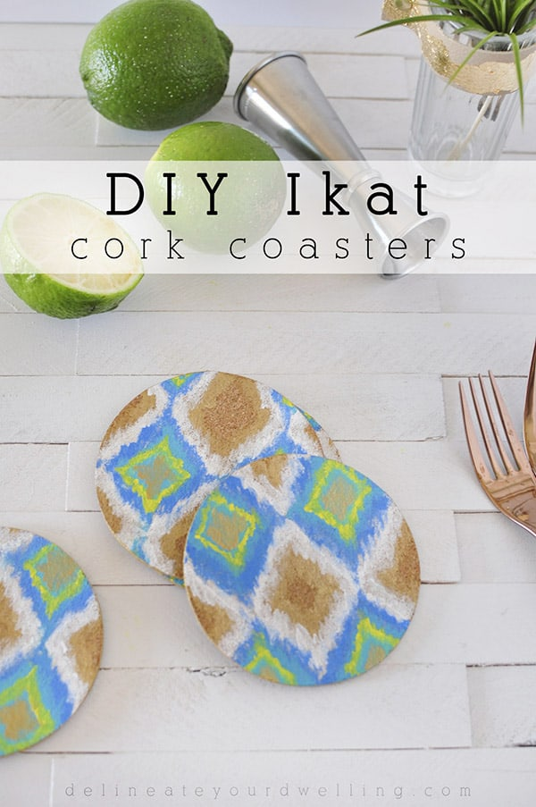 DIY Ikat Cork Coasters