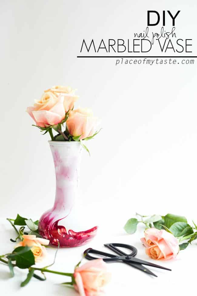 DIY nail polished MARBLED VASE