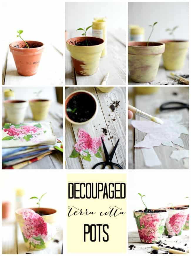 Decoupaged terra cotta pots 2