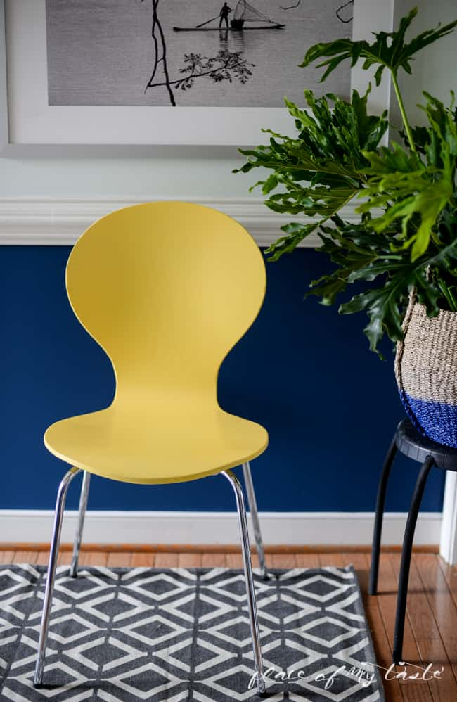 HELLO YELLOW CHAIR MAKEOVER {ONE ROOM CHALLENGE, WEEK 3}