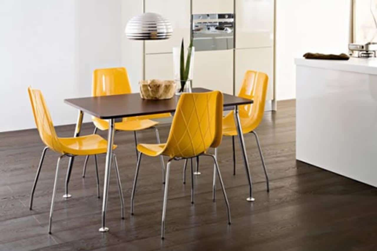 One room challenge breakfast room inspiration for Modern yellow dining chairs