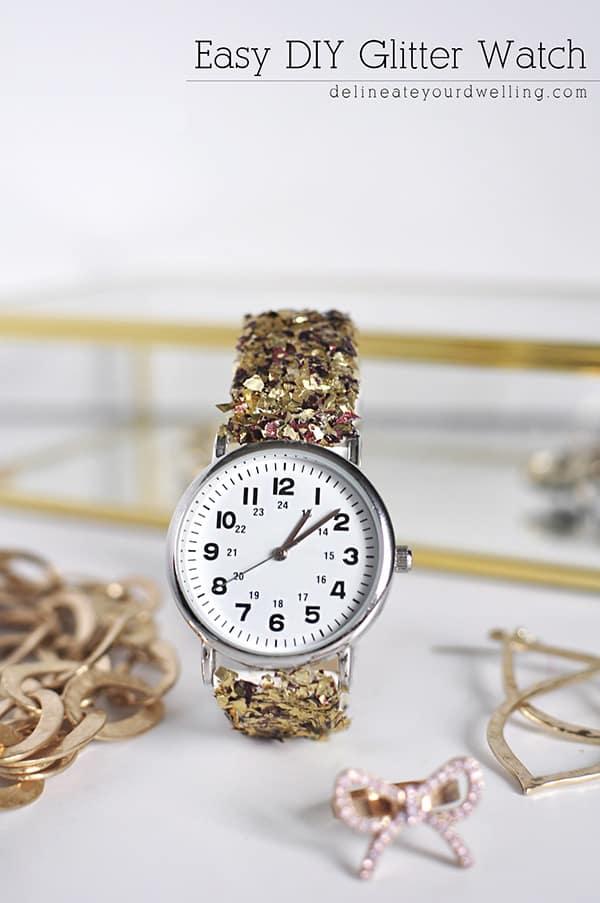 Easy DIY Glitter Watch, Delineateyourdwelling.com