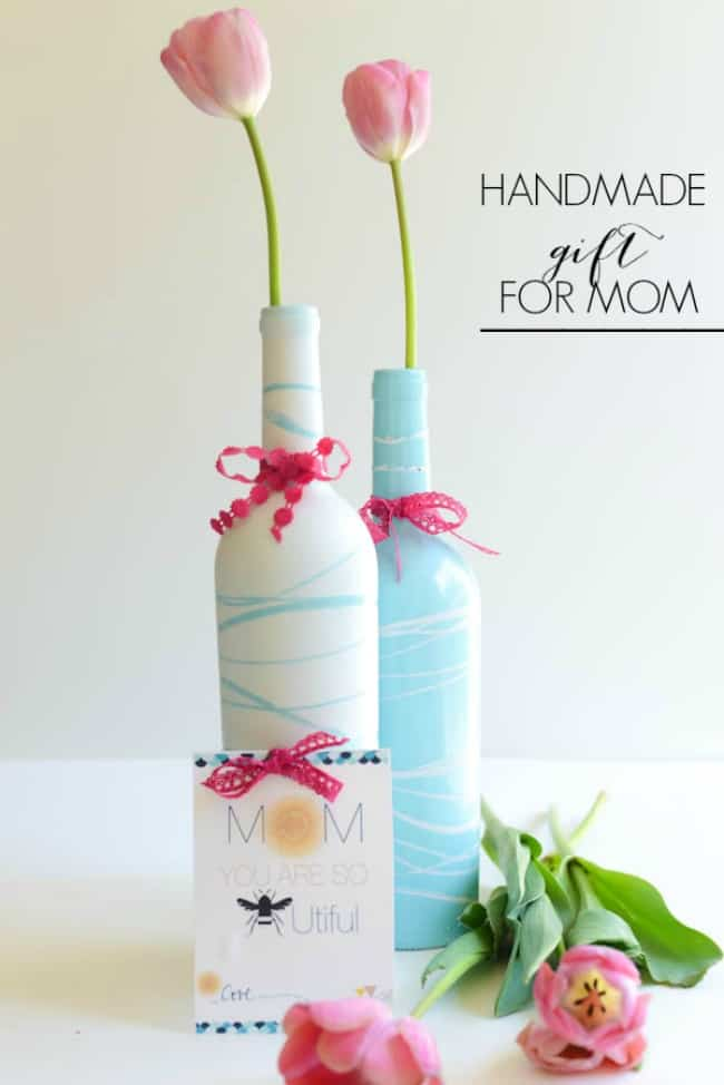 Painted Wine Bottles and mother's day printable  by Place Of My Taste )