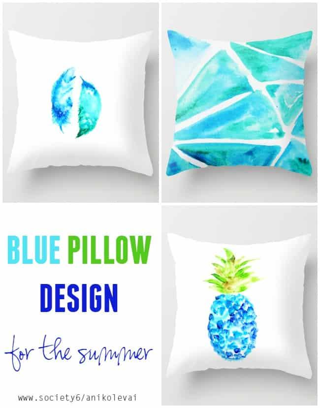 Blue pillow design for the summer