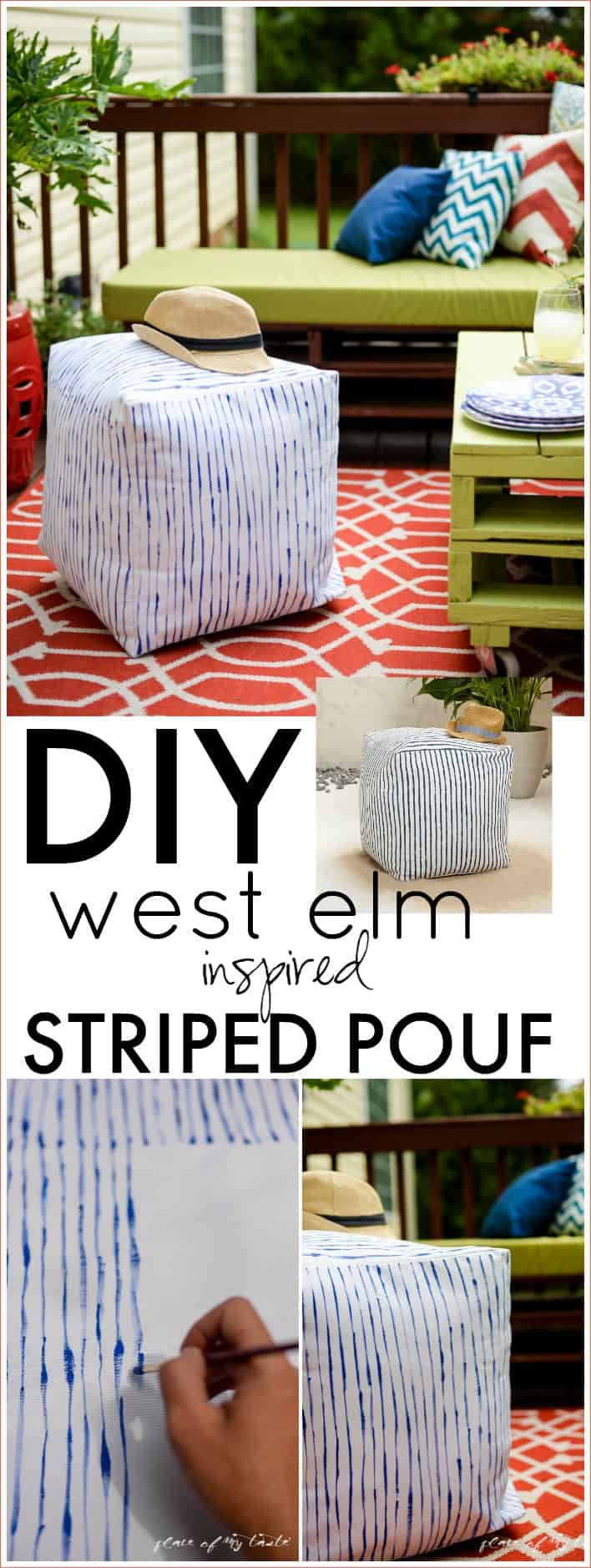 DIY west elm inspired striped pouf