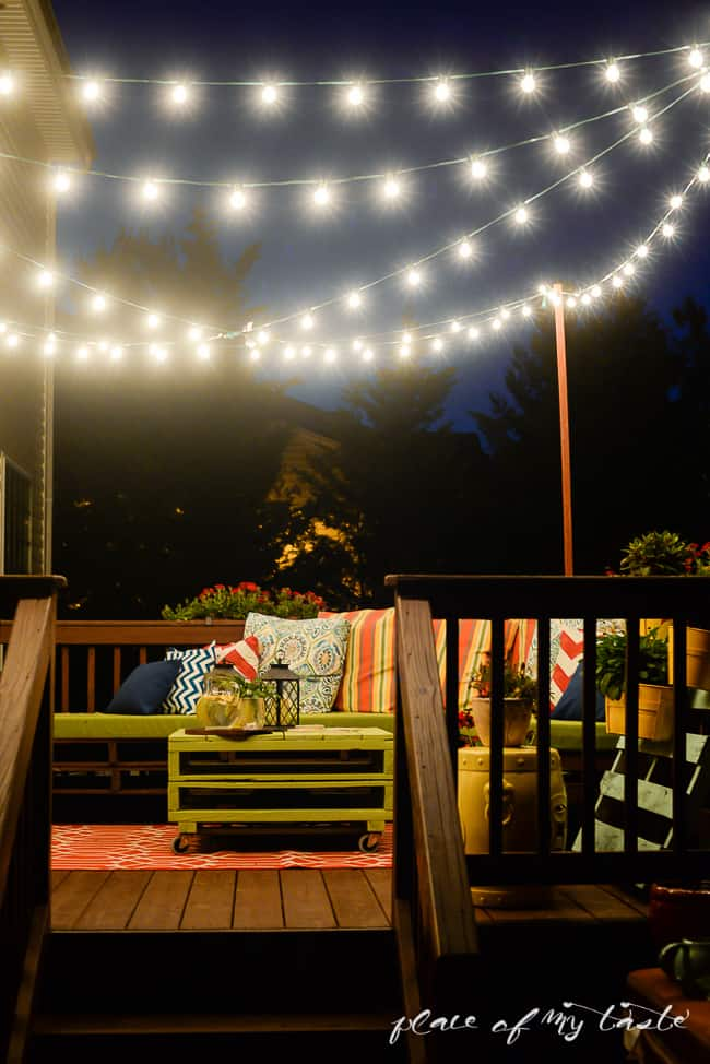 Deck-Decorating-with-string-lights-6 Paint Deck Backyard Ideas on sunroom ideas, living room ideas, bedroom ideas, backyard bathroom ideas, inexpensive backyard ideas, backyard umbrella ideas, backyard landscaping, backyard paint ideas, landscaping ideas, backyard porch ideas, backyard outdoor shower ideas, backyard patio, backyard fire pit, backyard privacy ideas, backyard pier ideas, backyard construction ideas, garage ideas, backyard picnic table ideas, backyard addition ideas,