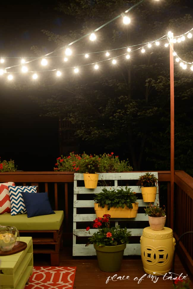 Learn how to hang string lights on your deck!! So fun and cozy! I promise you can do it and your summer nights will be more enjoyable!