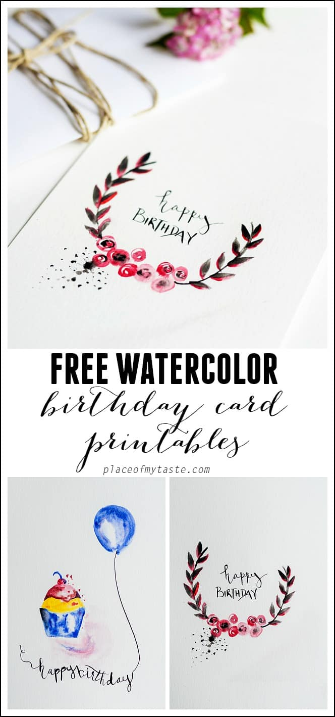 FREE Watercolor Birthday card printables
