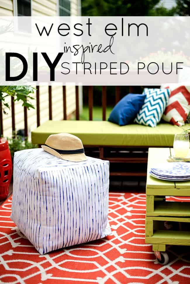 West Elm inspired striped pouf-