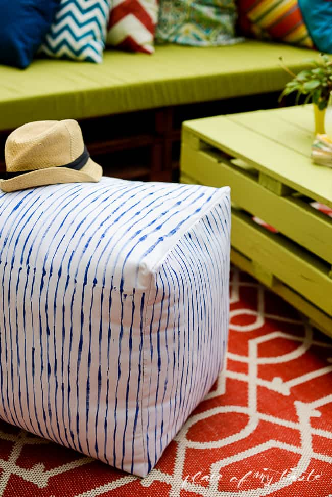 West Elm inspired striped pouf-16