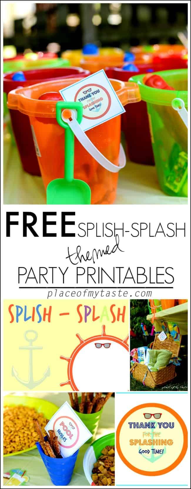 FREE SPLISH SPLASH THEMED PARTY PRINTABLES