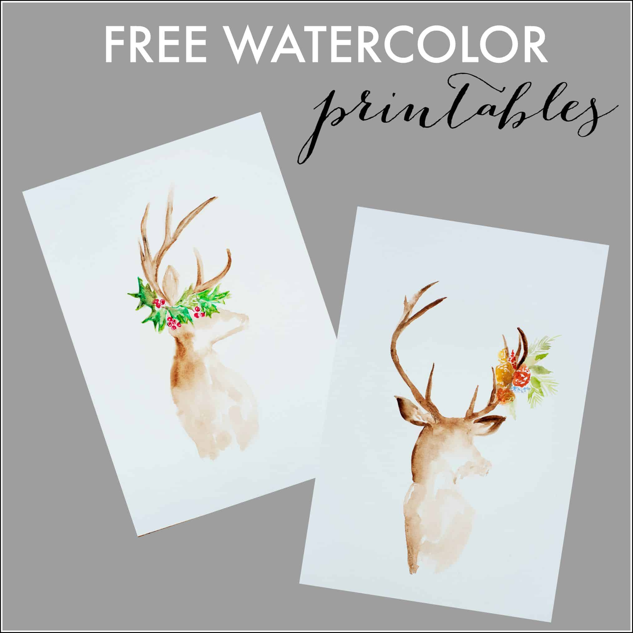 Free watercolor fall printable Christmas card scenes to paint