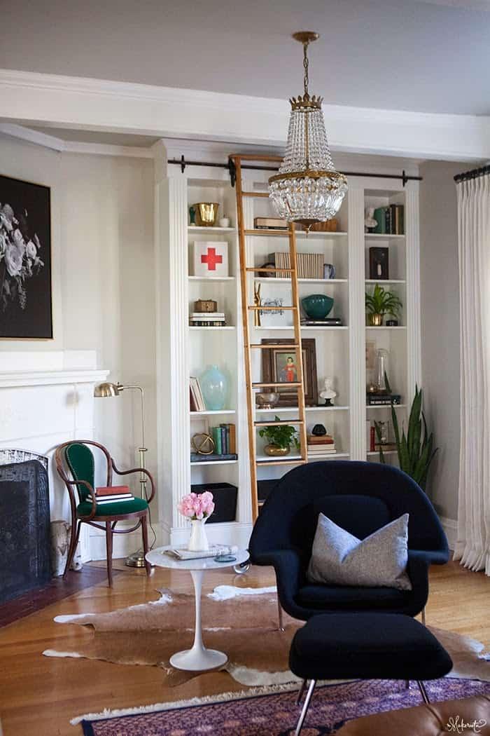 The-Makerista-Ikea-Bookshelf-Hack-Billy-Built-ins-French-Basket-Chandelier-Library-Ladder