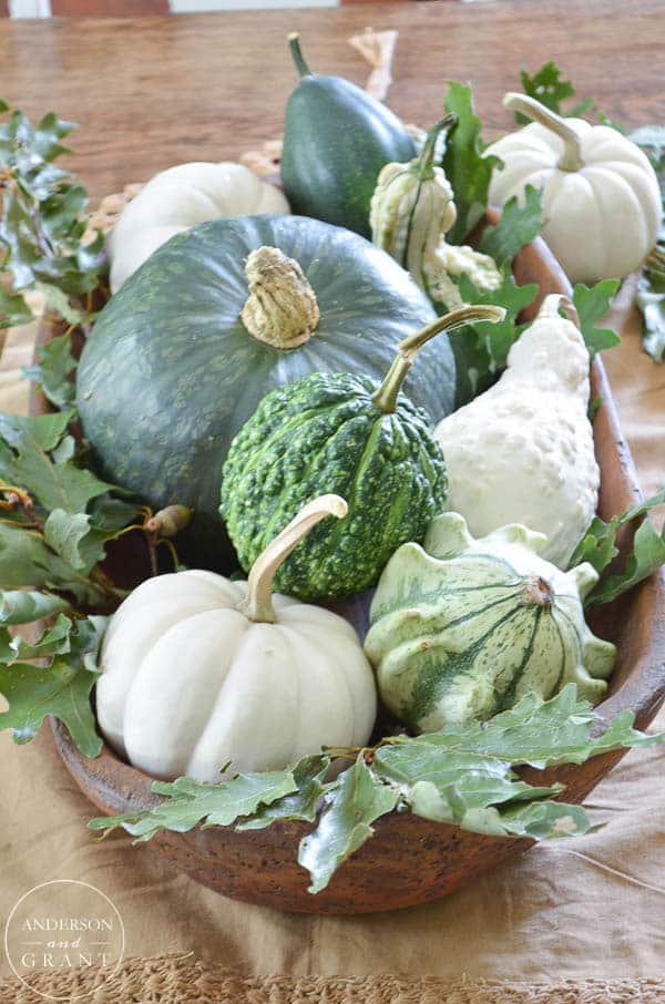 Gourds, pumpkins and colourful fall vegetable in the middle of the table in a rectangle bowl.