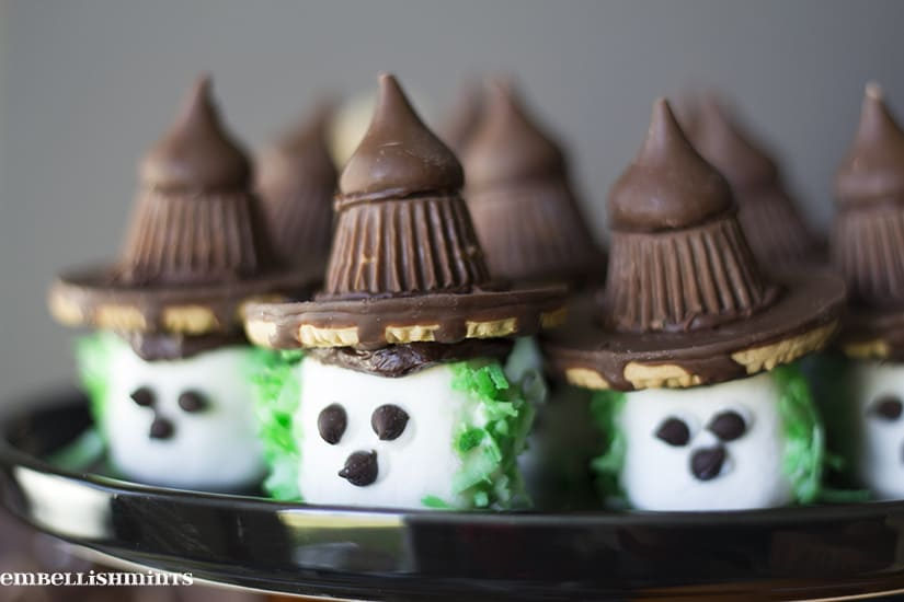 Little marshmallow Halloween witches on a platter.