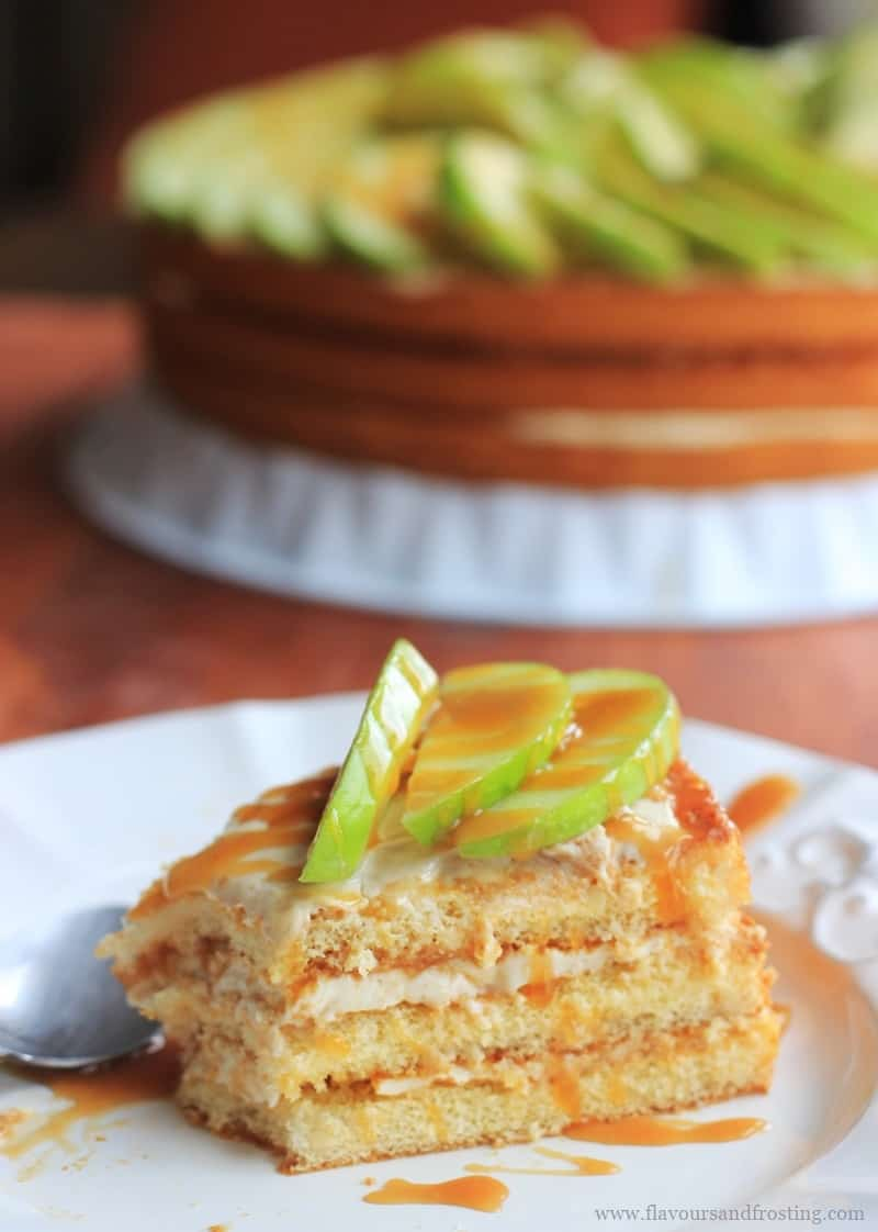 Apple caramel cheesecake with apple slices on top.