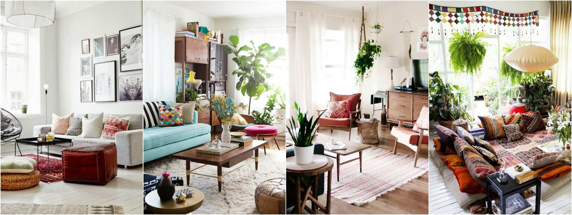 Boho chic living room plans one room challenge place for Bohemian chic living room makeover