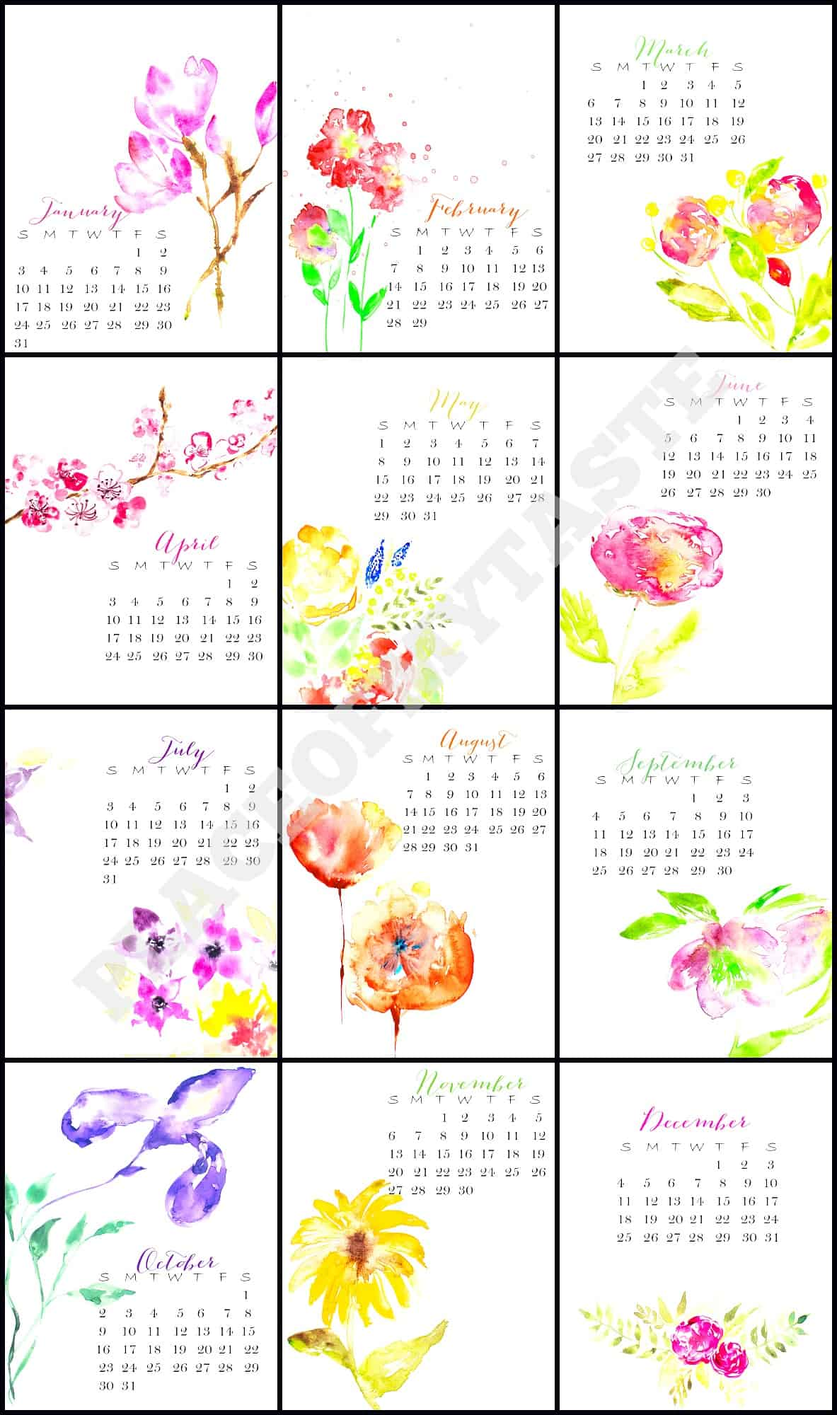 Calendar Flowers : Calendar