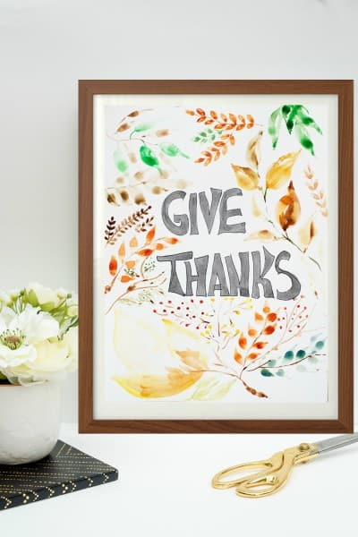 FREE WATERCOLOR THANKSGIVING PRINTABLE