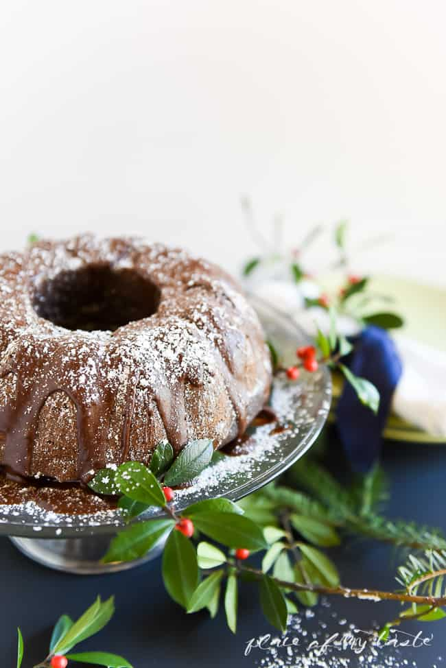 Chocolate Bundt Cake Recipe - This delicious chocolate cake is not too sweet, it's very chocolatey, and super soft and fluffy.  You can put the ingredients together in less than 10 minutes. No joke!  Bake it for 45 minutes and this incredible goodness is done! PIN IT NOW and bake it later!
