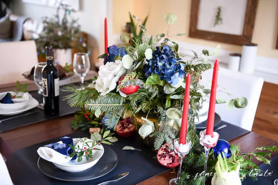 Festive, gorgeous table setting for the Christmas Holidays