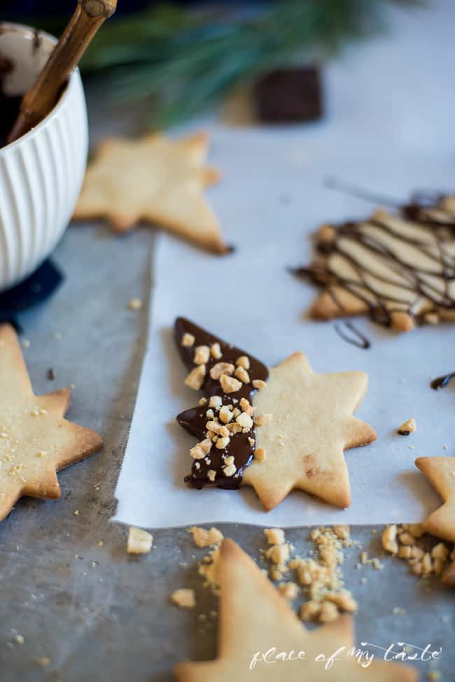 Chocolate dipped Christmas cookies. Perfect for your Holiday party!