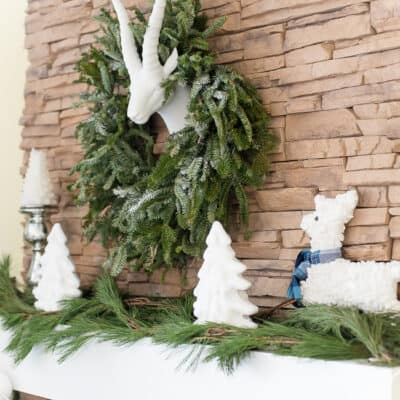 DIY TEXTURED REINDEER AND CHRISTMAS TREE + CHRISTMAS MANTLE