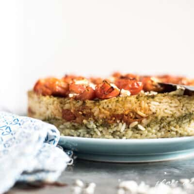 LAYERED PESTO RICE CAKE