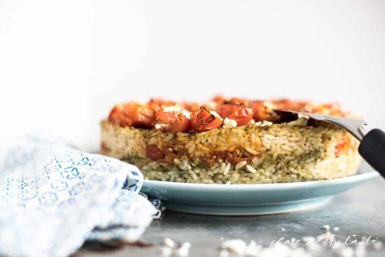 LAYERED PESTO RICE CAKE