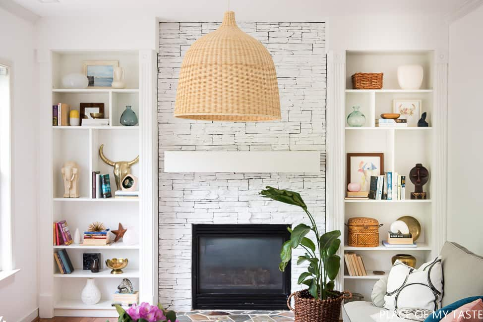 How to make ikea billy bookcase built ins place of my taste for Bookshelves next to fireplace