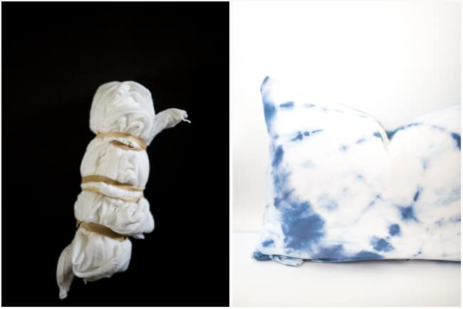 Shibori tie dye pillows are so much in trend now! Make your own and decorate your home with these funky pillows! Let's tie dye! | placeofmytaste.com