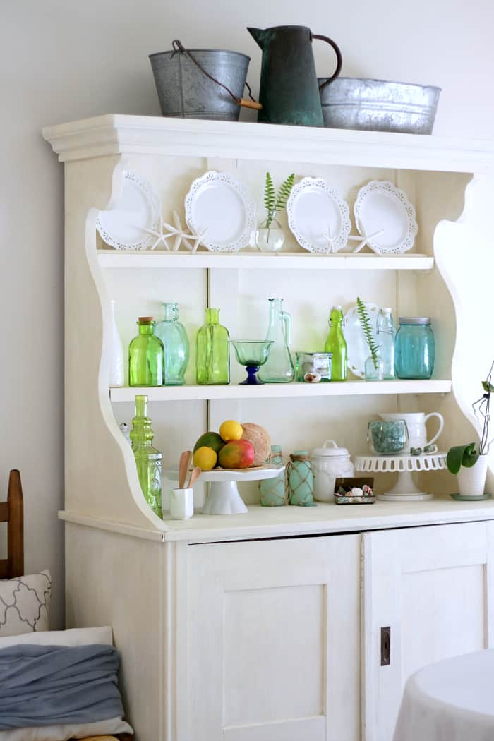 Green Glass Decor Dining Room Hutch