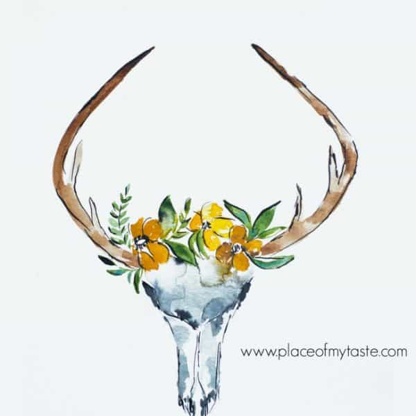 DEER SKULL WITH FLOWERS FREE PRINTABLE