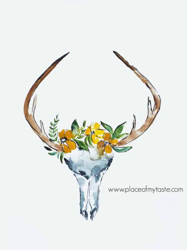 DEER SKULL WITH FLOWERS FREE PRINTABLE