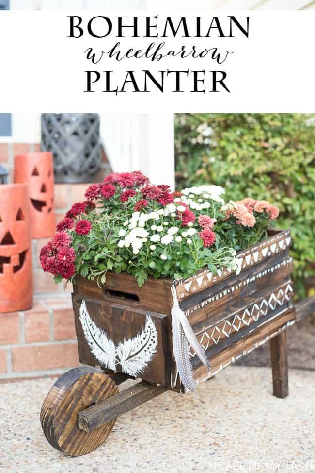bohemian-wheelbarrow-planter