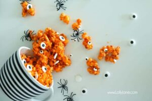 candy popcorn with eyeballs for halloween