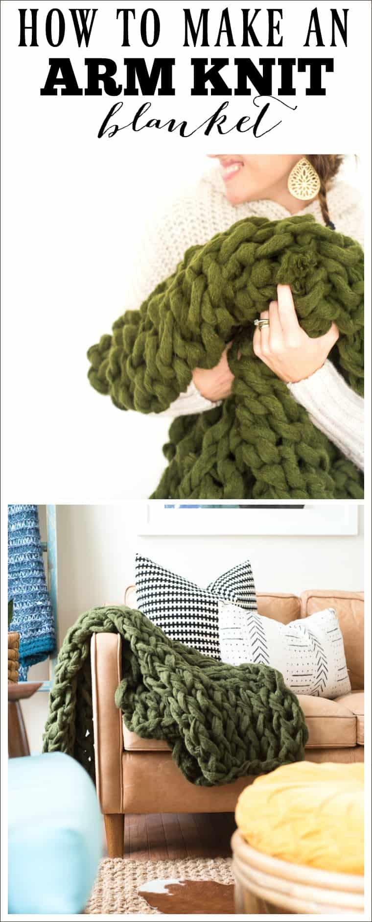 1adaa90102606a ARM KNIT BLANKET  HOW TO MAKE USING CHUNKY YARN
