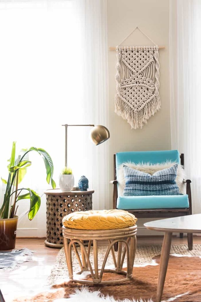 Mid modern chair and fun macrame wall hanging.