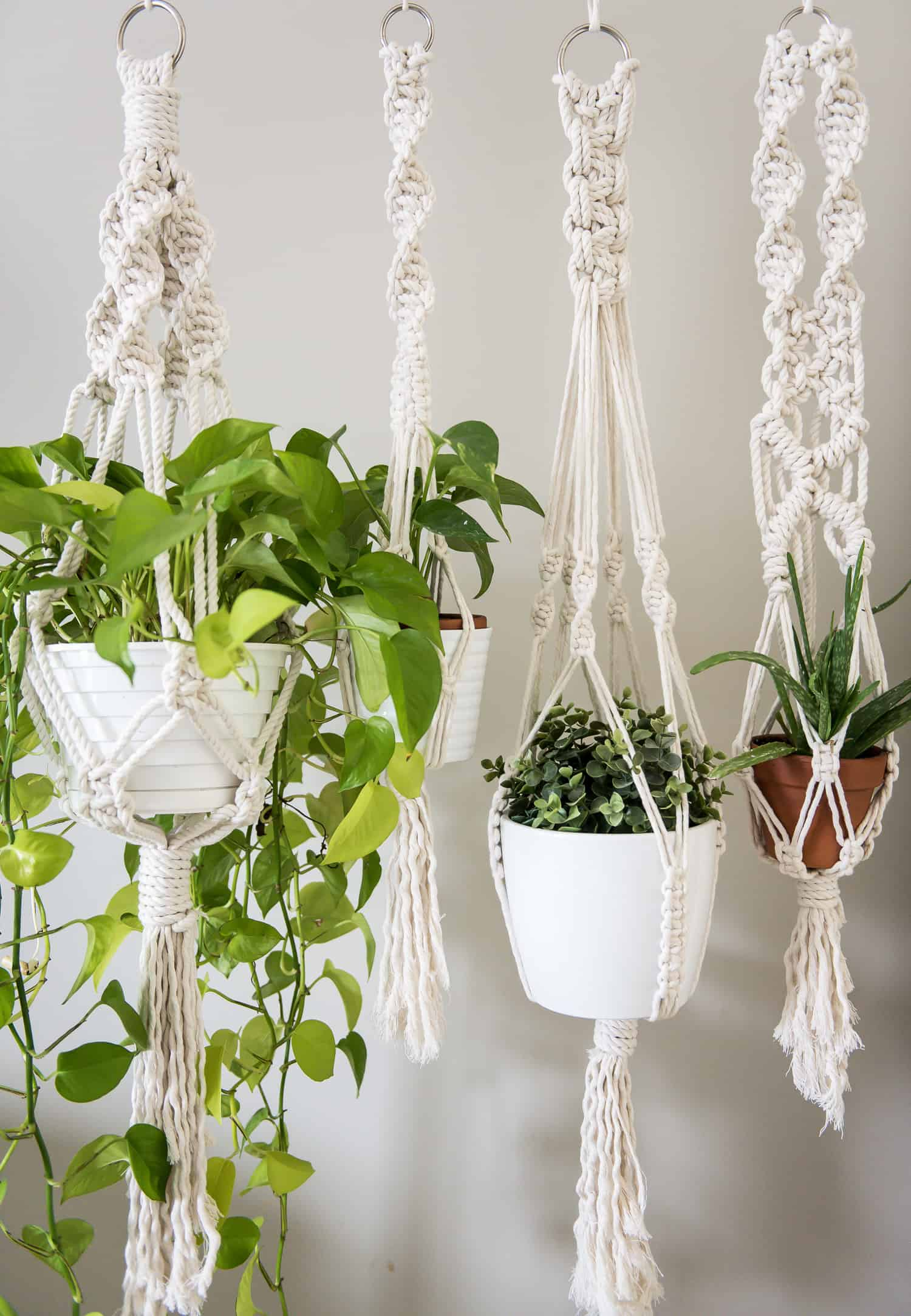 how to make a macrame plant hanger learn three basic macrame knots to create your wall hanging 5002