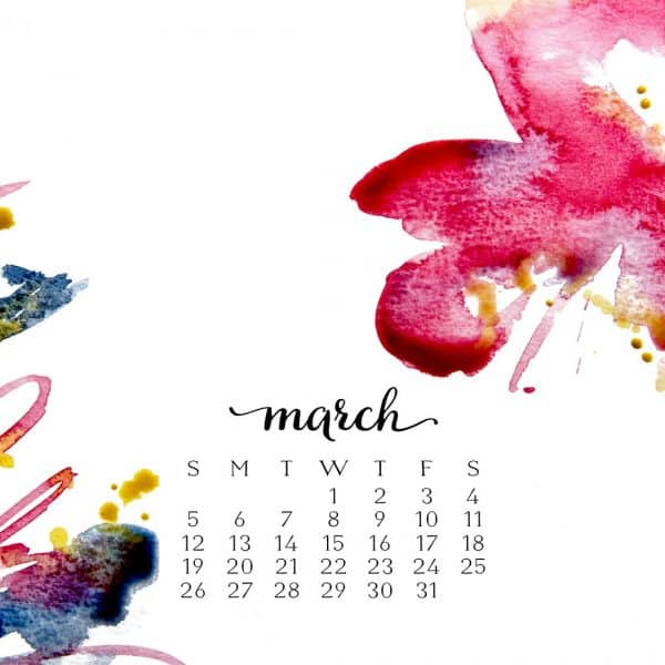 MARCH WATERCOLOR DESKTOP WALLPAPER