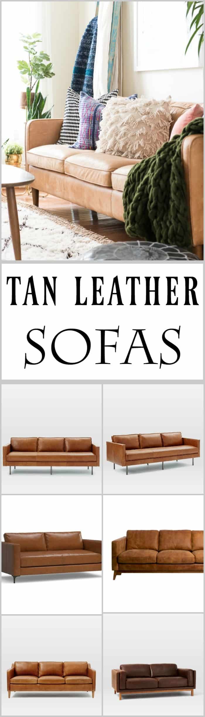 Tan leather sofas are so much in style these days.My Hamilton leather sofa is great, and in this post, you can check out some beautiful tan leather sofas.