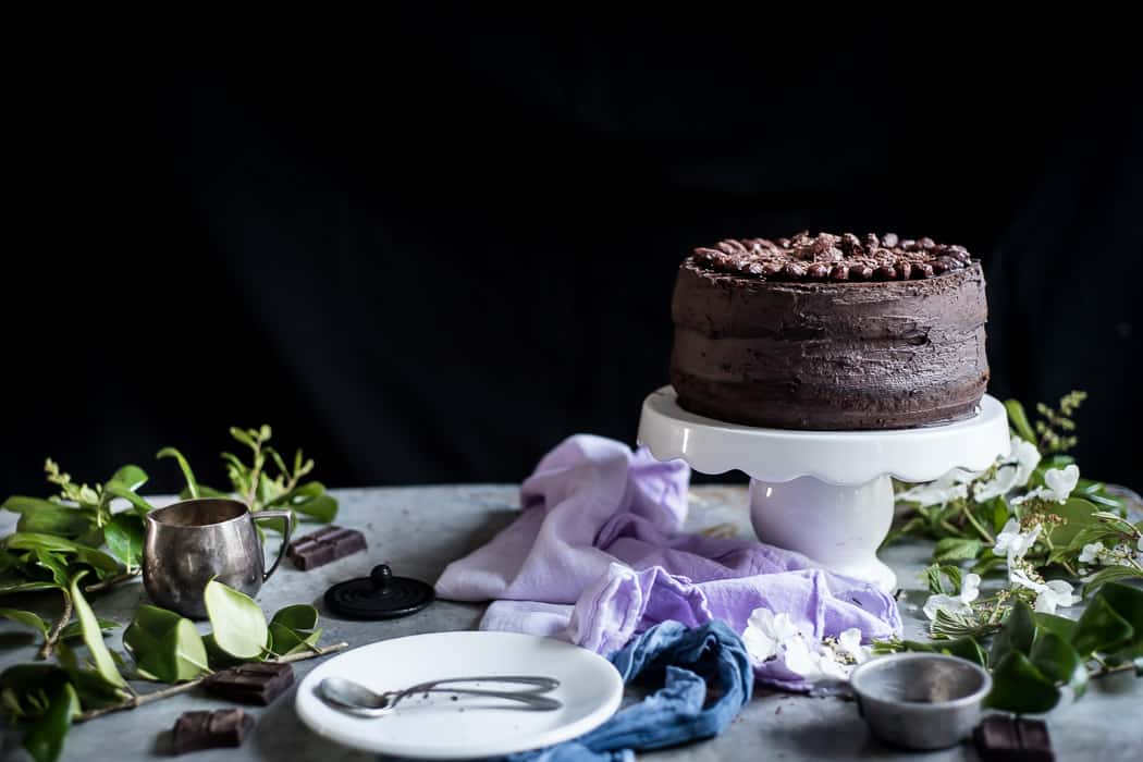 Chocolate Cake with Cocoa Roasted Almonds