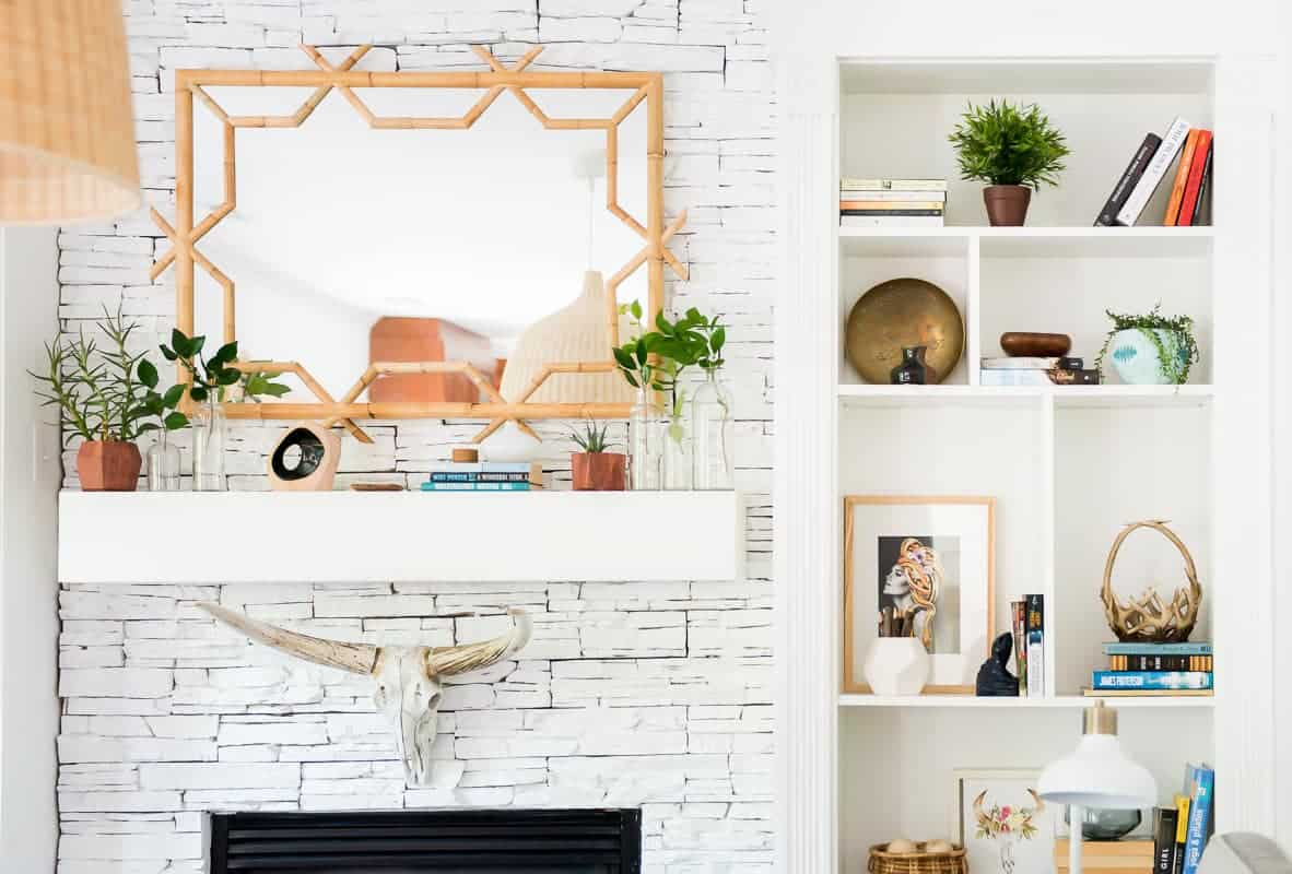MANTEL DECOR UPDATE WITH SERENA LILY BAMBOO MIRROR