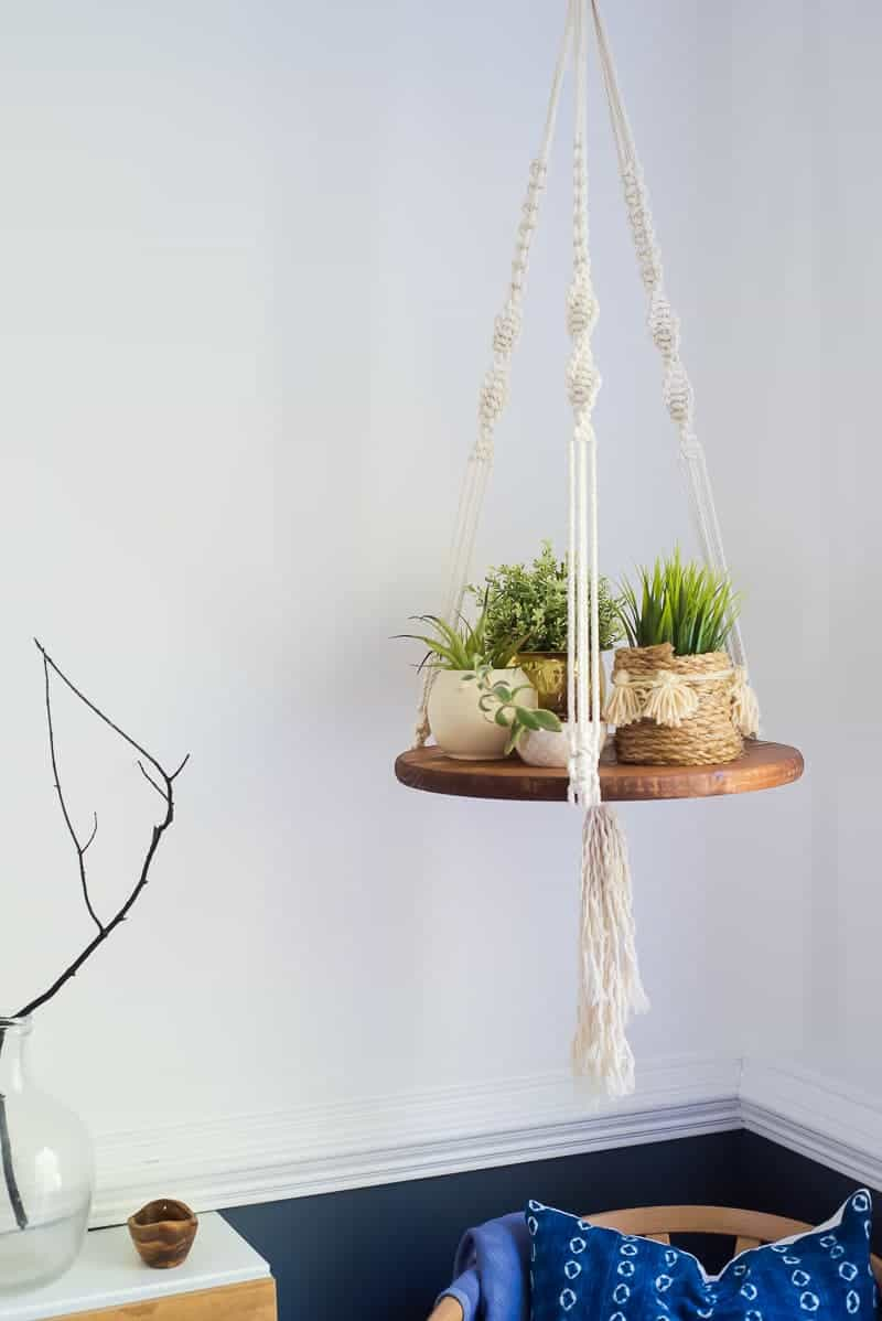 Simple Diy Macrame Necklace: EASY DIY FLOATING SHELF WITH MACRAME STRINGS