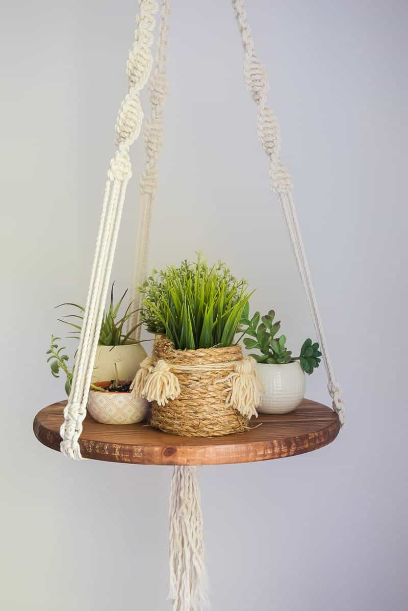 EASY DIY FLOATING SHELF WITH MACRAME STRINGS