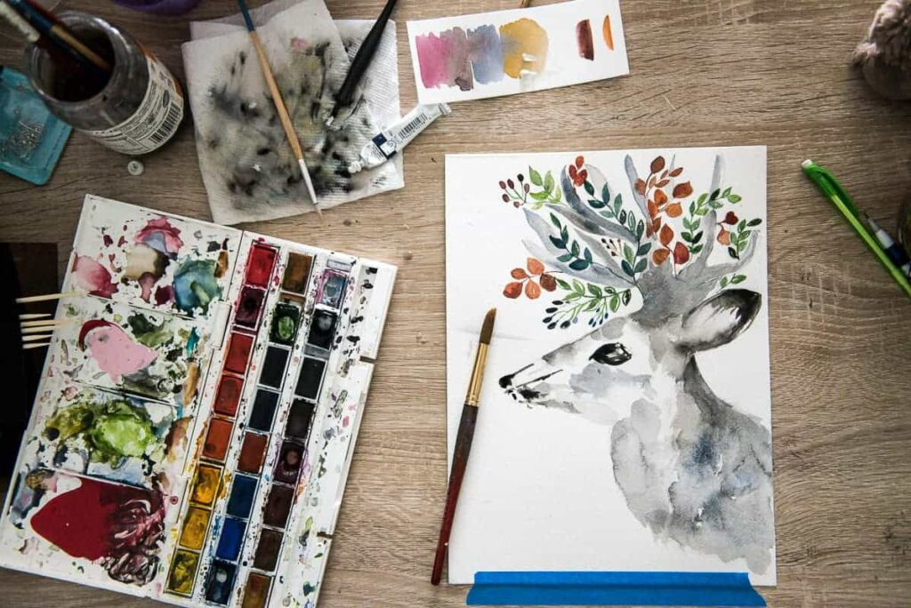 free fall printable of a deer watercolor
