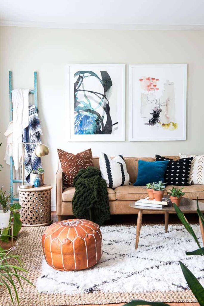 fall boho livingroom with bluies, greens and browns