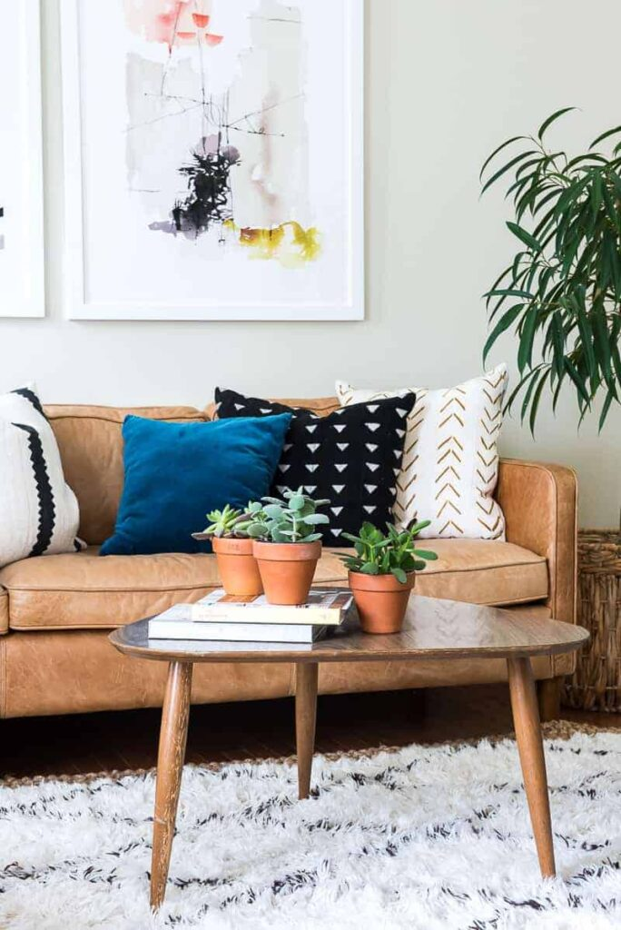 blue black and white pillow on a brown leather couch with succulents and green plants around